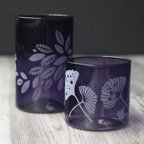 Amethyst glass tumblers in tall and short
