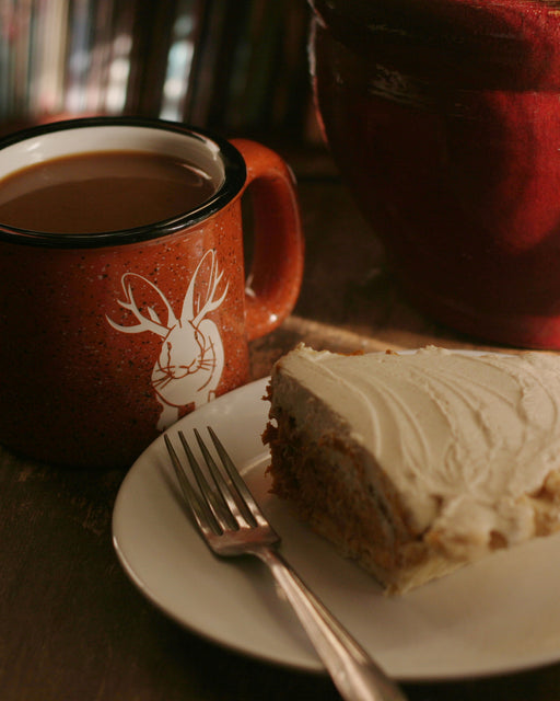 Jackalope camp mug with pumpkin pie