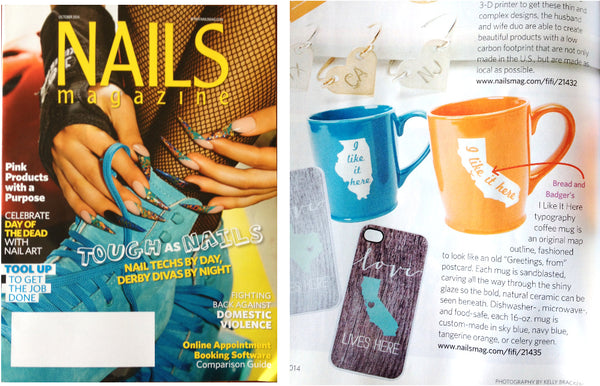 Bread and Badger mugs featured in Nails Magazine