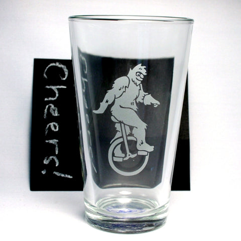 sasquatch unicycle pint glass with chalkboard
