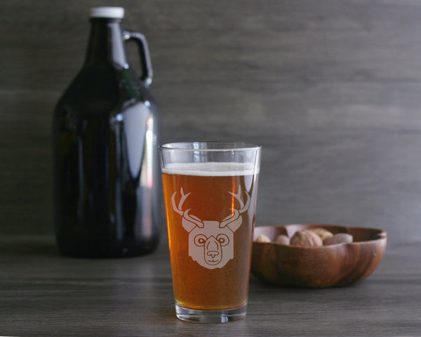 Beer bear pint glass