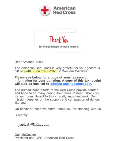 Red Cross donation receipt $240