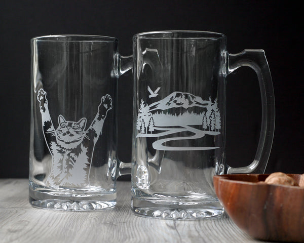 Big Beer Tankards etched with a cat or mountain