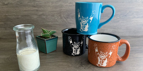 Stretch Cat mugs
