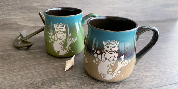 Mermaid Cat mugs