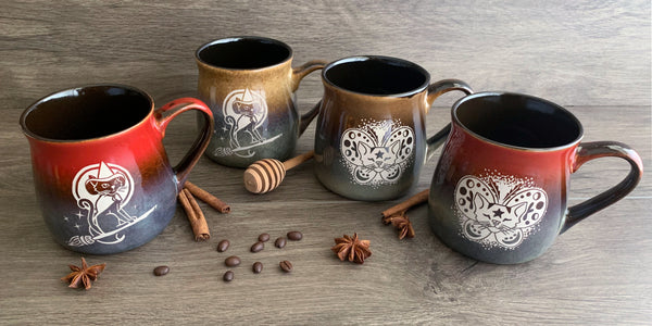 Autumn rustic cat mugs