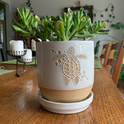 Farmhouse Planter with Saucer, Made-to-Order with any stock design