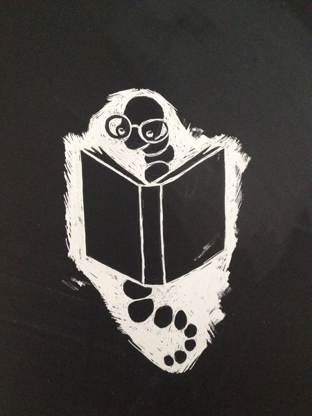 Bookworm clayboard (scratchboard) engraving