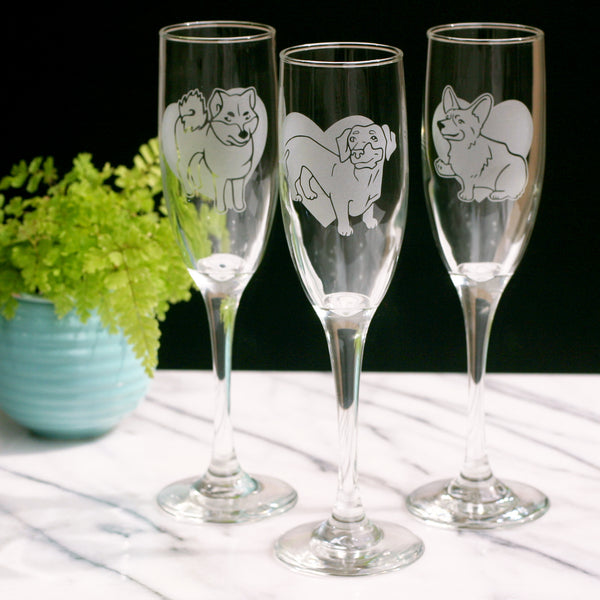 Dog champagne flutes by Bread and Badger