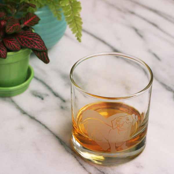 Dachshund whiskey glass by Bread and Badger