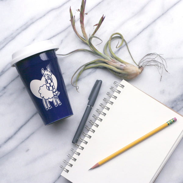 Llama travel mug in navy blue by Bread and Badger
