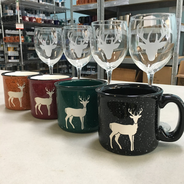 custom stag deer camp mugs and wine glasses