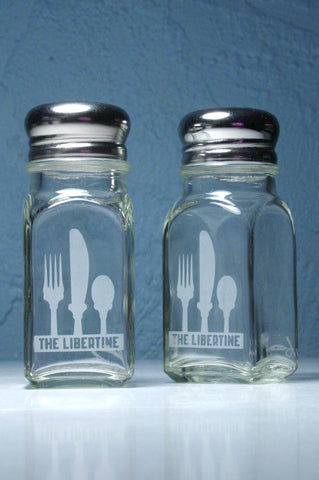 custom etched salt and pepper shakers with custom logo and text