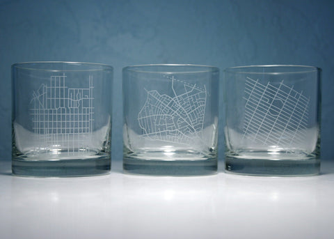 custom map scotch glasses