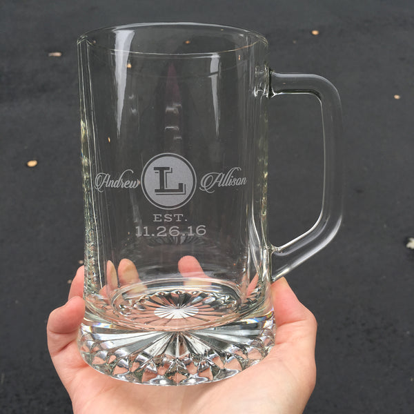 custom etched beer tankard