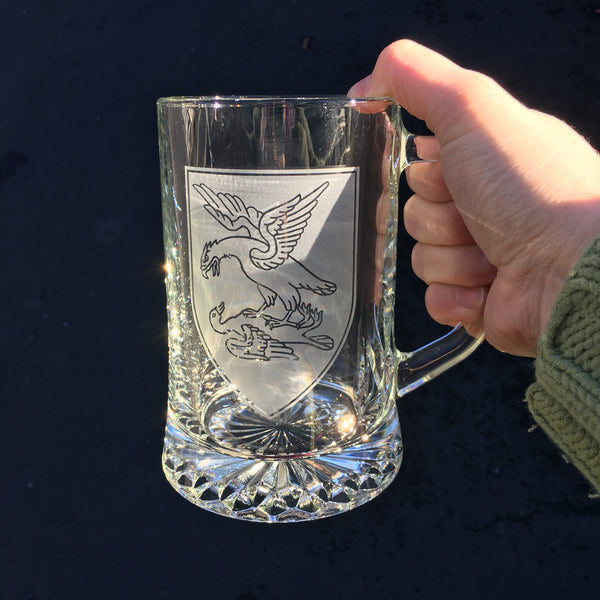 Custom family crest beer tankard mug by Bread and Badger