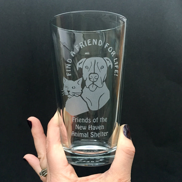 Custom logo pint glass by Bread and Badger