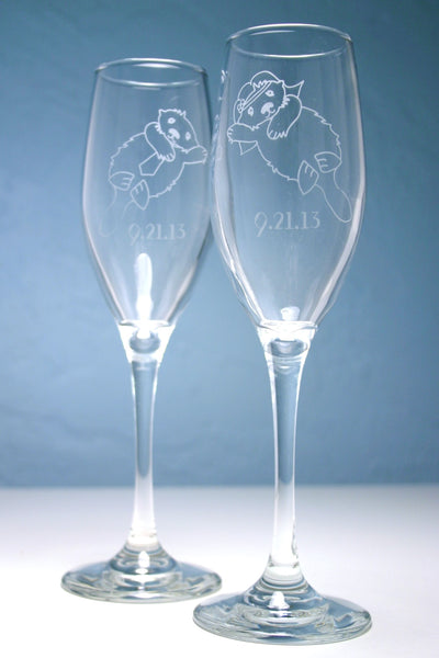 Otter bride and groom champagne flute glasses