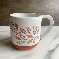 Tea Leaves Plant Mug, Farmhouse Style Handmade Pottery