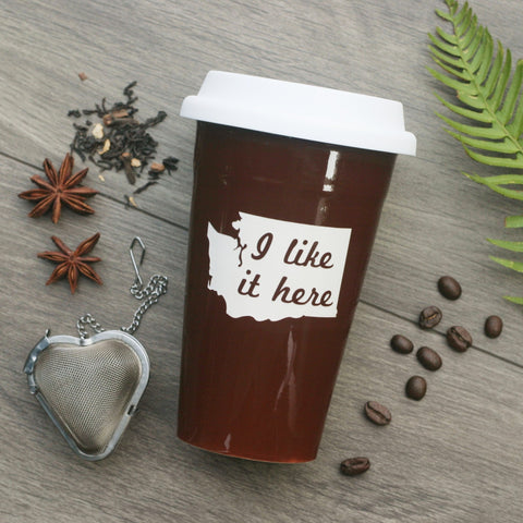 State Travel Mug - I Like It Here with White Silicone Lid, Microwave-Safe, Dishwasher-safe