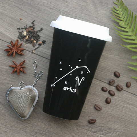 Aries Zodiac Travel Mug with White Silicone Lid, Microwave-Safe, Dishwasher-safe