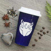 Deer Travel Mug with White Silicone Lid, Microwave-Safe, Dishwasher-safe