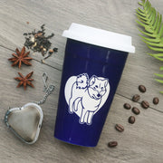 Shiba Inu Dog Travel Mug with White Silicone Lid, Microwave-Safe, Dishwasher-safe