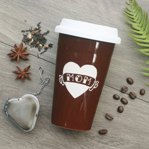 Tattoo Heart Travel Mug with White Silicone Lid, Microwave-Safe, Dishwasher-safe
