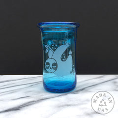 Blown Recycled Glass Tumbler, dishwasher-safe etched glassware