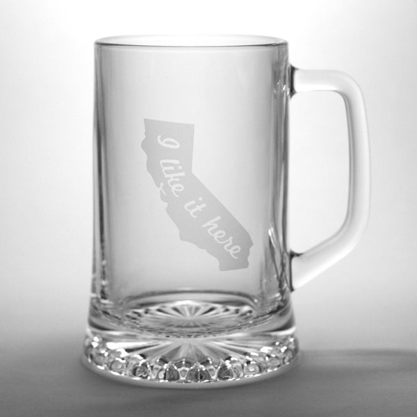 "California ""I like it here"" beer tankard"