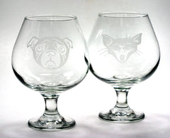 Brandy Snifter, Made-to-Order etched glass with any stock design