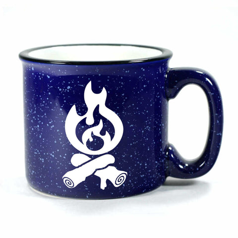 Campfire camp mug in navy blue by Bread and Badger
