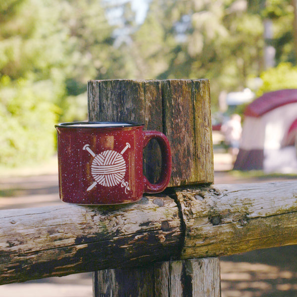 knitting yarn burgundy ceramic camp mug