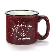 aquarius constellation camp mug, burgundy, by Bread and Badger