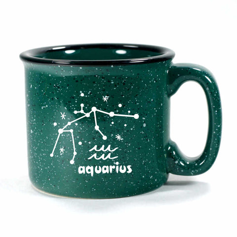 aquarius constellation camp mug, forest green, by Bread and Badger