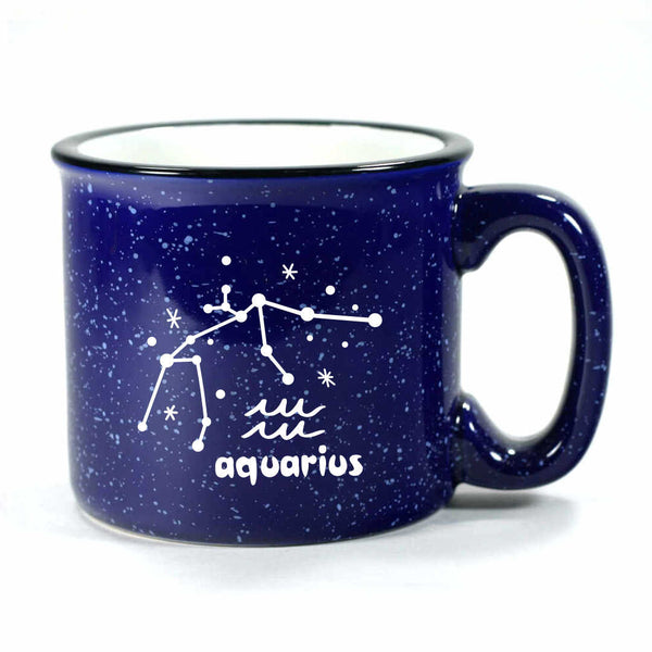 aquarius constellation camp mug, navy blue, by Bread and Badger