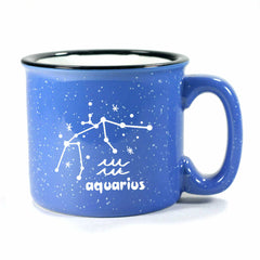 aquarius constellation camp mug, ocean blue, by Bread and Badger