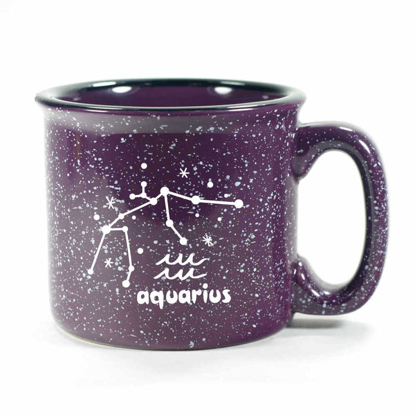 aquarius constellation camp mug, purple, by Bread and Badger