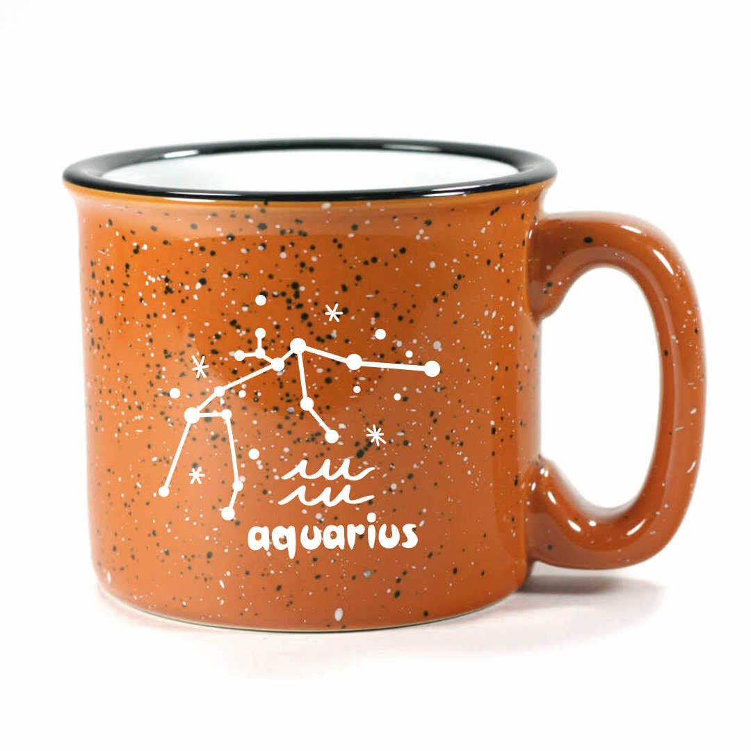 aquarius constellation camp mug, rust, by Bread and Badger