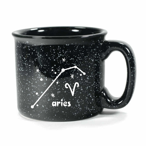 aries constellation camp mug, black, by Bread and Badger