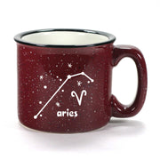aries constellation camp mug, burgundy, by Bread and Badger