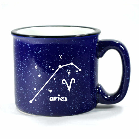 aries constellation camp mug, navy blue, by Bread and Badger