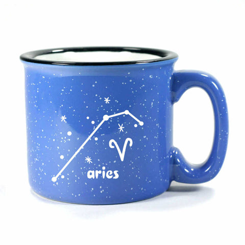 aries constellation camp mug, ocean blue, by Bread and Badger