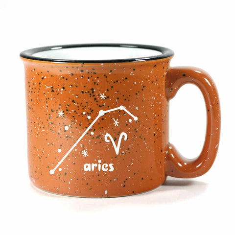 aries constellation camp mug, rust, by Bread and Badger