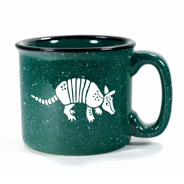 Forest Green Armadillo camp mug, by Bread and Badger