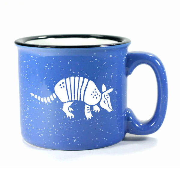 Ocean Blue Armadillo camp mug, by Bread and Badger