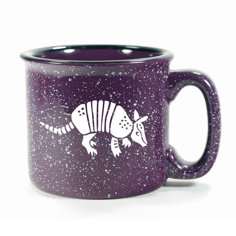 Purple Armadillo camp mug, by Bread and Badger