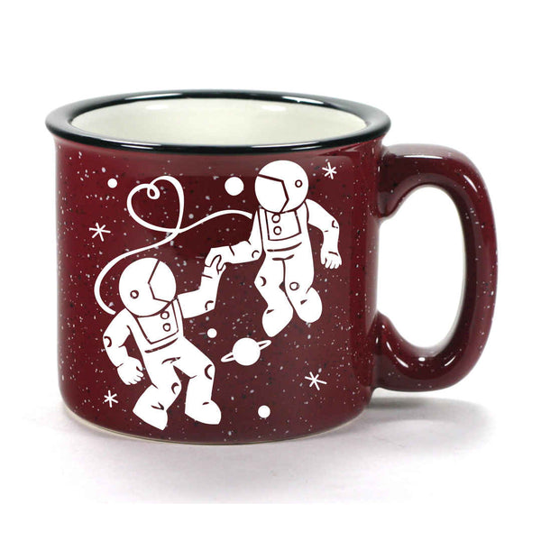 burgundy camp mug, astronaut love