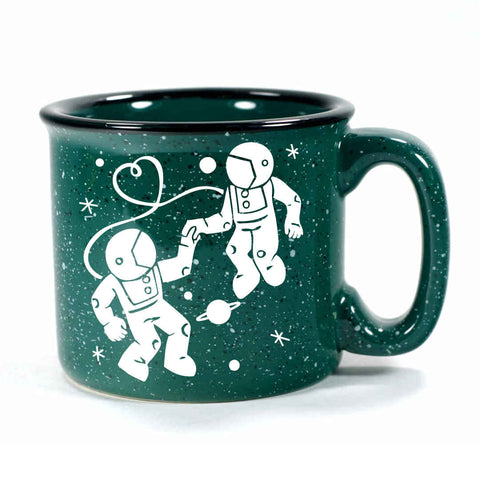 forest green camp mug, astronaut love