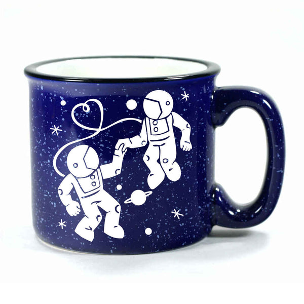 navy blue camp mug, astronaut love